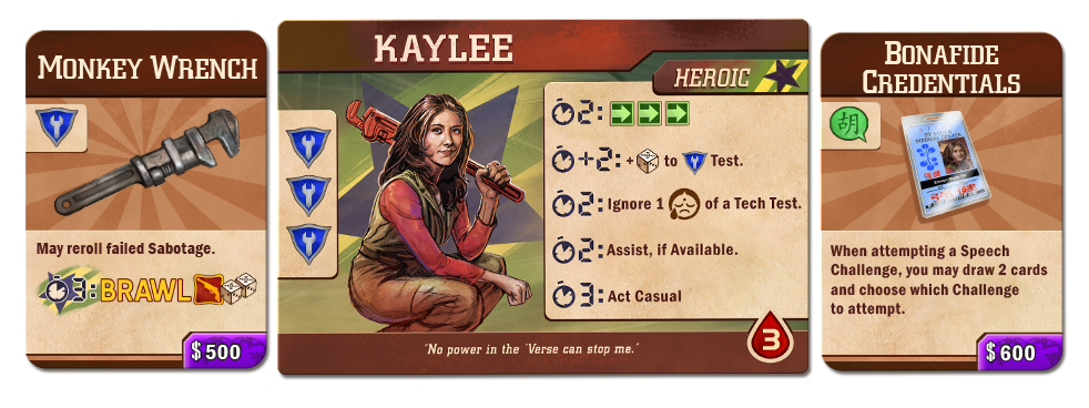 Firefly Adventures: Brigands & Browncoats Kaylee & Equipment